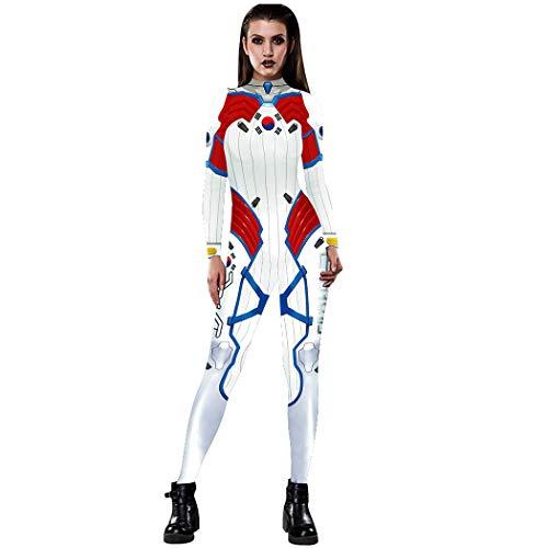 NooobTerrm Damen Halloween Karneval Kostüm 3D Skelett Langarm Overall Rücken Zip Catsuit Bodycon Ganzkörperanzug Cosplay Bodysuit(M, Weiß Rot)