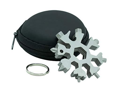 Schneeflocken Multitool Werkzeug 18-in-1 aus Edelstahl in Silber ideal fürs Fahrrad oder technik Geschenke für Männer zum schrauben