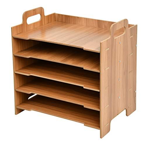 Bambus Dokumentenablage Schreibtisch Organizer Schreibtisch Briefablage Notizzettel und Stifte ordnen, Schublade, Ordnungssystem A4 für Büro Holz