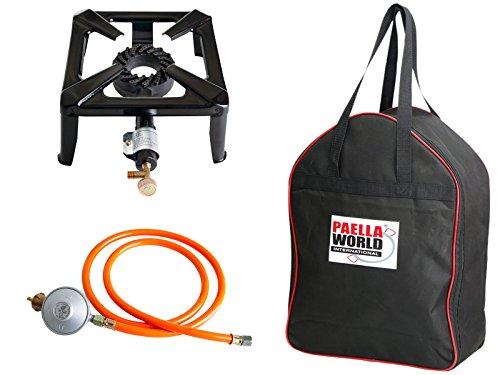 Paella World International Hockerkocher mit 8.5 kW Leistung, Abmessung 40 x 40 x 17 cm inkl. Tasche und 50 mbar Gasanschluß-Set