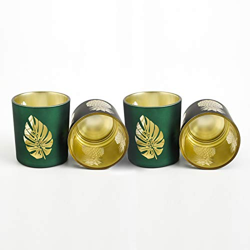 KUANCOMM Votive Candle Holders Set of 4, Tealight Holders for Votive Candles, Perfect Wedding Centerpieces for Tables Or Home Decoration