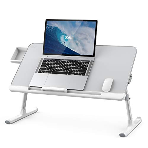 Laptop Bed Tray Desk, SAIJI Adjustable PVC Leather Desktop Lap Desk, Portable Laptop Table Stand with Storage Drawer, Foldable Laptop Tray for Sofa Couch Floor (Large, Gray)