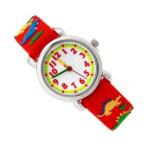 ibasenice 3D漫画恐竜腕時計学生シリコーンクォーツ腕時計にやさしい防水時計クリエイティブキッズギフト (赤)