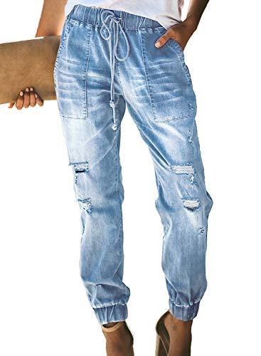 Sidefeel Women Distressed Denim Joggers Elastic Drawstring Waist Jeans Pants Medium Light Blue