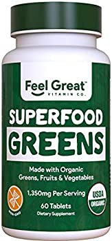 Organic Super Greens Fruit & Vegetable Tablets by Feel Great Vitamin Company – Superfood Green Juice Powder Supplement – Increase Energy Improve Wellness Alkalize The Body Halal Certified