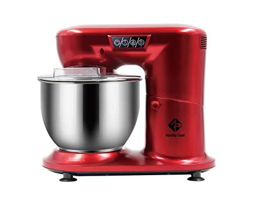 Family Care Robot de Cocina Batidora Amasadora Repostería de 1000 W Potencia. Bol 4.5L Acero Inoxidable. 3 Accesorios. Color Rojo