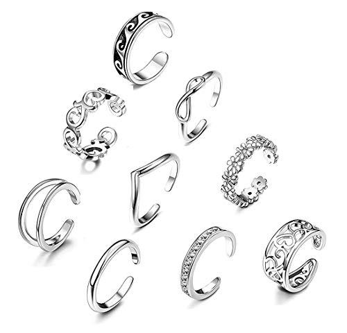 CASSIECA 9PCS Open Toe Ring per Donne Ragazze Fiore Margherita Onda Kink Knuckle Boho Anelli Regolabile Piede Gioielli Regali Set