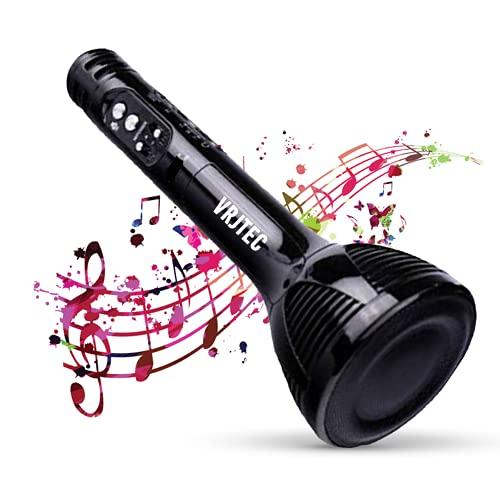 VRJTEC Design 2 Wireless Bluetooth Karaoke Microphone | Portable Handheld Karaoke Mic | Multi-function Bluetooth Karaoke Mic with Speaker For All Smart Phones (BLACK)