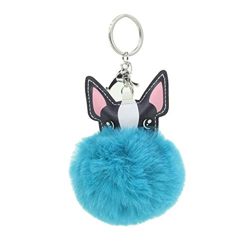 Cute Animal 8cm Fur Ball Faux Fur Puff Ball Dog Keychain Bag Car Ring Pendant Keyrings (Lake blue)