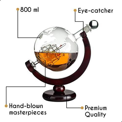 Whisiskey® Whiskey Karaffe - Globus - Whisky Karaffe Set - 900 ml - Geschenk für Männer und Frauen - Inkl. 9 Whisky-Steine und Schenktülle - 10