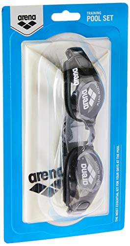 Arena Kit Natacao Pool Set Adulto Com Oculos/ Touca, Branco/ Preto