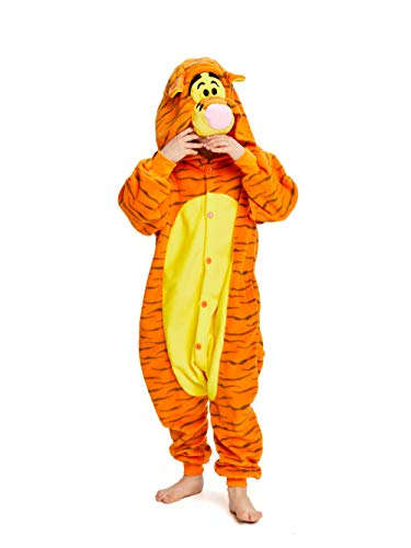 NEWCOSPLAY Halloween Unisex Child Tigger One-Piece Pajamas Costume (105, Tigger-one)