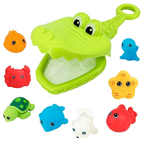 Crocodile Floating Baby Bath Toys - Crocodile Net Including 8 Floating Squirt Toys Cute and Colorful Squeeze Animals Learning Bathtub Toys Set for Babies Toddlers Kids Boys &Girls Age 3+