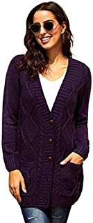 SDJYH Cardigans para Mujer Suéteres de Punto de Manga Larga con Frente Abierto Abrigo Suelto cálido