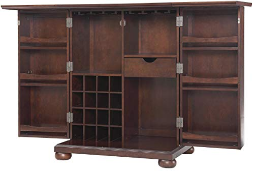Crosley Furniture KF40001AMA Alexandria Expandable Top Bar Cabinet - Vintage Mahogany