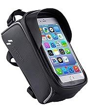 自転車 トップチューブバッグ 自転車 フレームバッグ スマホ ホルダー 防水 防圧 日除け 大容量 多機能 携帯ホルダー 6.0インチスマホ対応 iphone android 多機種対応 防水バッグ バイク スタンド ホルダー
