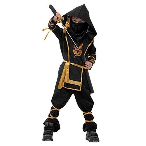 West See Kinder Jungen Halloween Stealth-Ninja-Kampfkünste Kinderkostüm mit Hose, Shirt, Gürtel und Maske (Alter 5-7, Schwarz)