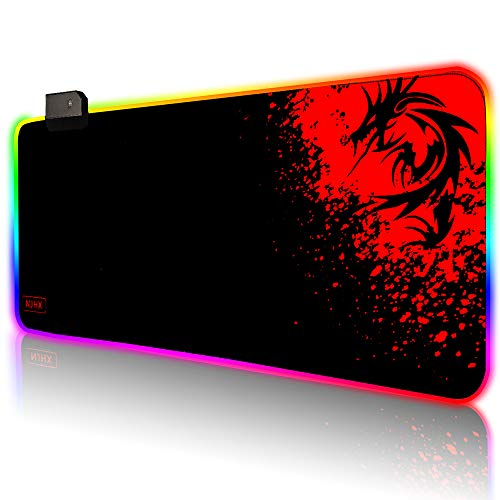 Extended RGB Gaming Mouse Pad with Nonslip Rubber Base, XL Large LED Keyboard Mat(31.5x11.8x0.16In), Red Dragon