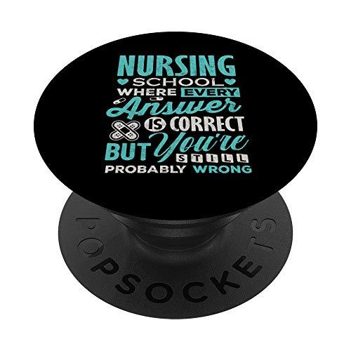 Funny Nursing school student T Shirt Nurse PopSockets Supporto e Impugnatura per Smartphone e Tablet