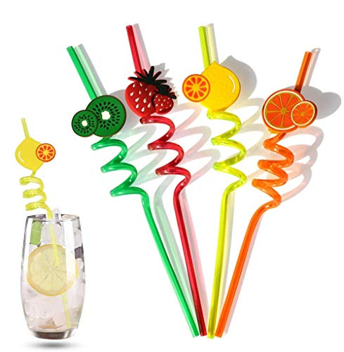 Amycute 12 Pcs Curly Party Straws, Disposable Bendable Cocktail 3D Fruit Drinking Straw, for BBQ/Hawaiian Theme Party Bar Wedding Decorations