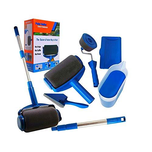 ADGO Rodillo de pintura, juego multifuncional de pincel inteligente con varilla extensible para casa, escuela, pared de oficina, pintura de techo y bricolaje