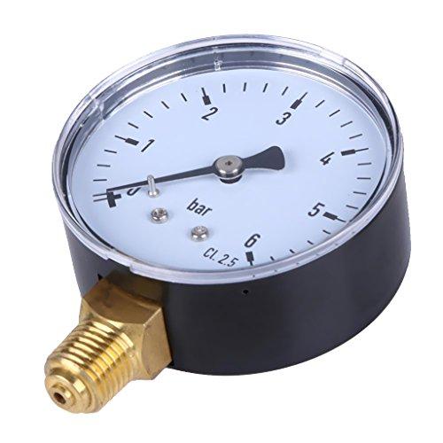 Manometer, Anschluß Unten Gewinde 1/4'' NPT Seiten Aufbau 2.3''Face 6 Bar Druckmesser Z.B. Für Druckminderer, Wasserfilter, Druckanzeiger, Druckanzeig