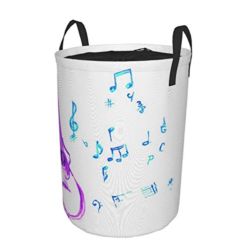 NOLOVVHA Collapsible Large Clothes Hamper for Household,Watercolor Musical Instrument With Notes Sheet Elements Brush Stroke Effect,Storage Bin Laundry Basket Waterproof with Drawstring,16.5' x 21.6'