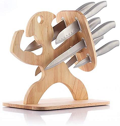 GKA 7 teiliges Profi Messerset mit Holzhalterung Spartan Soldat Holz Edelstahl Messerblock Messer