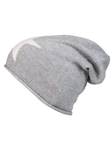 Cashmere Dreams Slouch-Beanie-Mütze mit Kaschmir - Hochwertige Strickmütze für Damen Mädchen - Stern - Hat - One Size - Sommer Herbst und Winter Zwillingsherz (hgr/weiß)