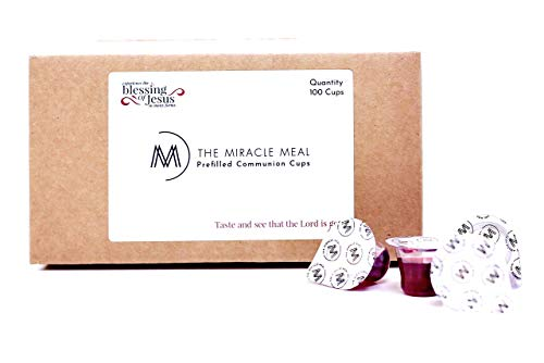 The Miracle Meal | Box of 100 Pre filled communion cups with 100% Concord Grape Juice & wafer