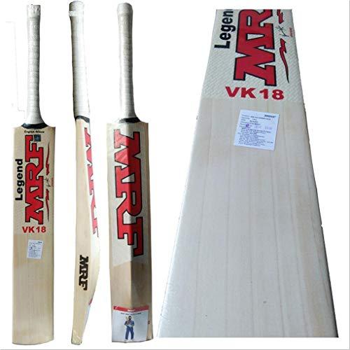 MRF Legend Virat Kohli 18 English Willow Cricket Bat Grains : 5 to 7 Clear Grains l Grade 1 English Willow Bat 100% Original with Bat Cover Free