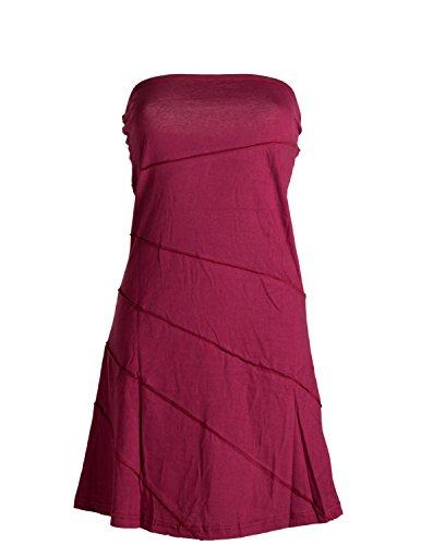 Vishes - Alternative Bekleidung - Mini Sommerkleid im Patchworkdesign aus leichtem Baumwolljersey dunkelrot 42/44