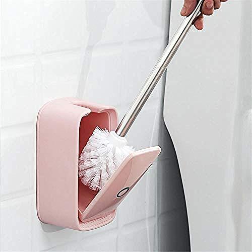 WBFINC Toilettenbürste-Wc-Bürstenfrei Stanzen Wandbehang Wc-Bürste Weiches Haar Ohne Eckbank Wc-Bürstengarnitur Pink-Pink Bürste