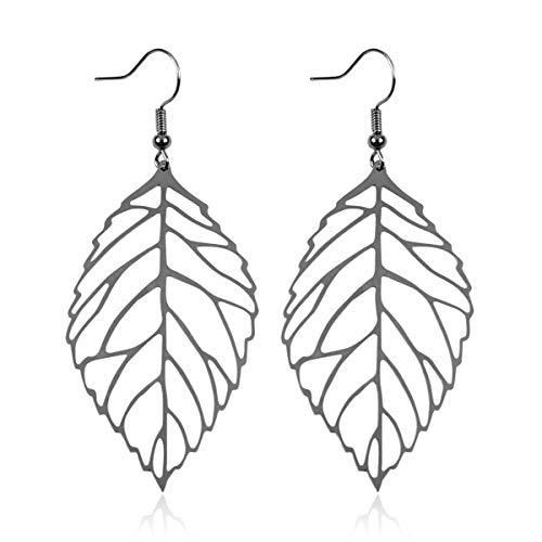 RIAH FASHION Bohemian Delicate Thin Metallic Lightweight Cutout Drop Earrings - Filigree Wood Petal Leaf, Tree of Life Hook Dangles (Birch Leaf 1.5' - Hematite)
