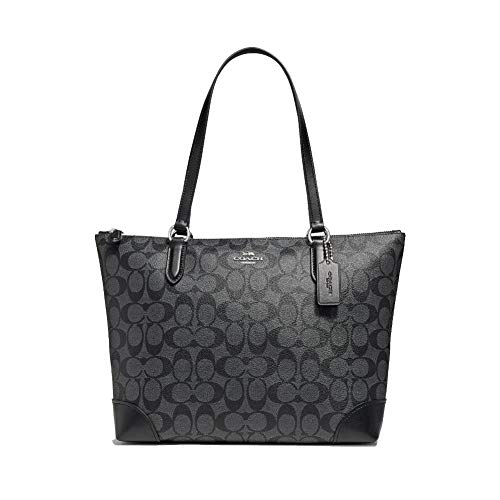 COACH Signature PVC Zip Tote Black Smoke/Black One Size