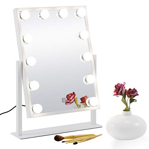 SUPER DEAL Touch Control Hollywood Vanity Mirror - Makeup Beauty Cosmetic Mirror with 12 Dimmable LED Bulbs & Bonus 10X Magnifer Makeup Mirror- Color Temperature Adjustable, Freestanding