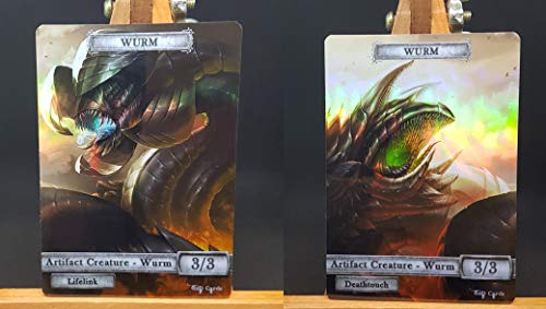 2X Artifact Wurms #2 FOIL Laminated Custom Altered Tokens (for Wurmcoil Engine)