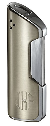 Personalized Pulsante Satin Nickel Wind-Resistant Torch Flame Lighter Free Monogram