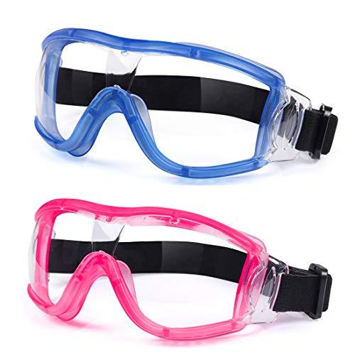 Gafas de seguridad para niños, gafas de seguridad protectoras de impacto resistentes a balística, lentes antivaho, ajuste ajustable para niños de 5 a 12 años para experimentar (azul + rosa)