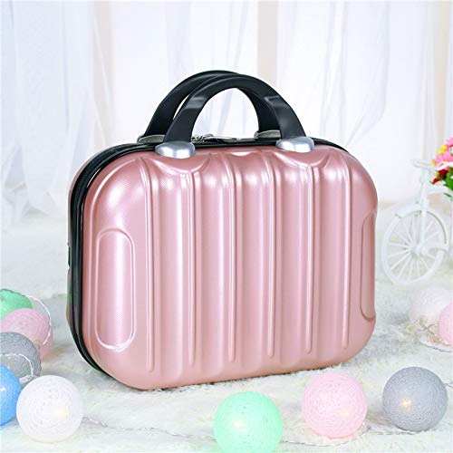 Makeup Bag Waterproof cosmetic case Women Cosmetic bags beauty suitcase makeup bag Travel make up case Beautician Portable Toiletries box (Color : Rose gold)