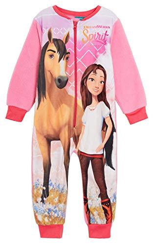 DreamWorks Spirit Riding Free Mädchen Fleece-Einteiler, Ganzkörper-Pyjama, Kinder, Pferde-Schlafanzug, Schlafanzug Gr. 5-6 Jahre, rose