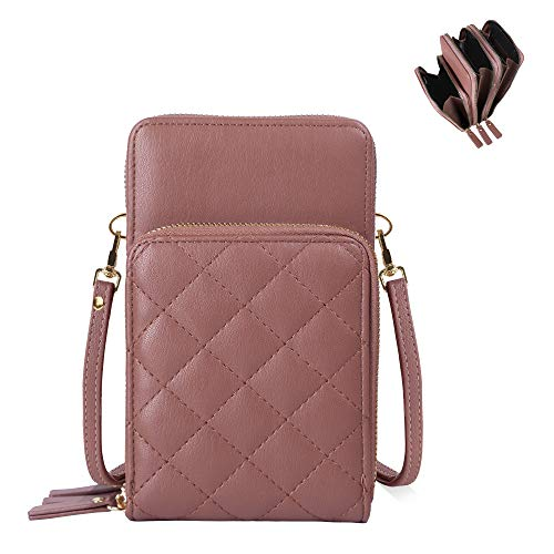 "Perfect Small Size: 7"" H x 4.25"" W x 2.5"" D. Weight 0.6 lb. Stylish – Features luxurious decorative quilted panel with matching detachable and adjustable crossbody strap; gold-tone hardware; convertible crossbody bag and wallet fits all essentials on..."