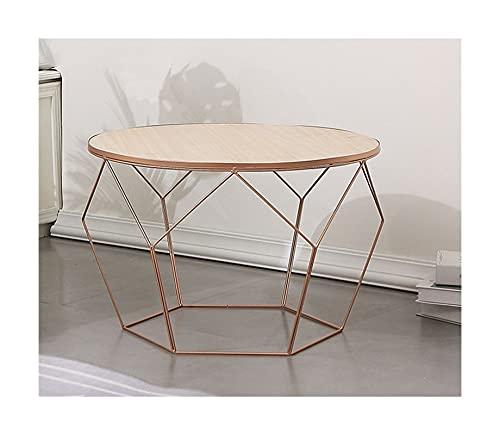 Meishikanka Mesas de café Mesa auxiliar para espacios pequeños, geometría de metal dorado con tapa redonda, gabinete premontado para sala de estar, mesa auxiliar de sofá 60 x 41 cm