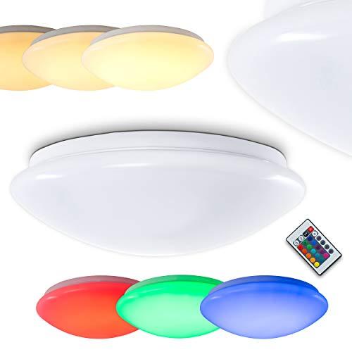 LED plafondlamp Zoar - ronde plafondlamp met kleurwisselaar - plafondspot met afstandsbediening - RGB LED's kunnen naar believen worden aangestuurd en kleurrijk licht produceren - 3000 Kelvin - 1280 Lumen - dimbaar