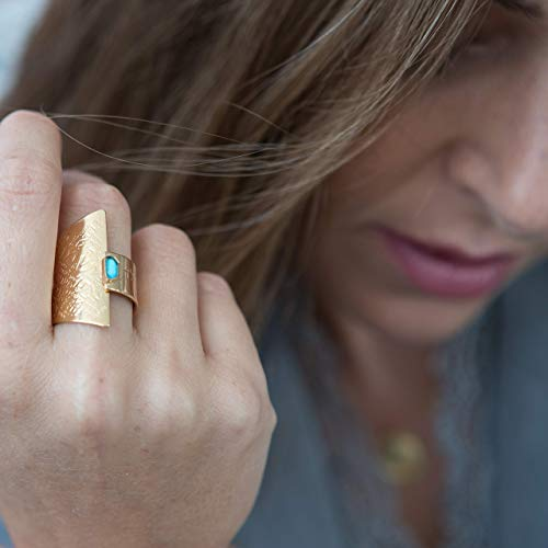 Turquoise Spiritual Ring, Hebrew ring engraved with inspirational words, Gold plated open adjustable statement ring, Unique Handmade Faith Jewelry, Israeli gift for women