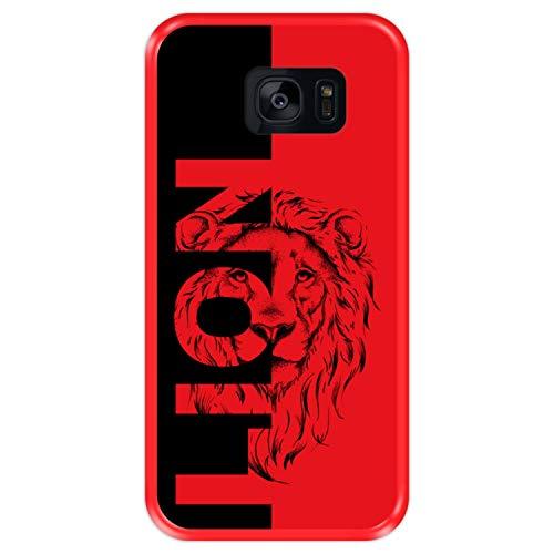 Hapdey Custodia per [ Samsung Galaxy S7 Edge ] Disegni [ Leone - Manifesto Astratto ] Cover Guscio in Silicone Flessibile Rosso TPU