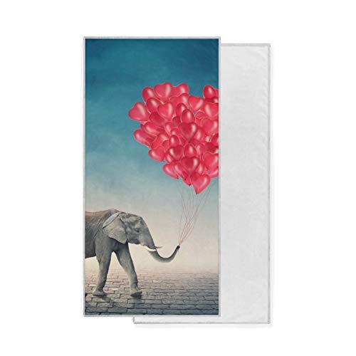 Janhe Toalla de baño para bañera de hidromasaje Altamente Absorbente Ultra Suave Multiuso Animal Elefante Amor Corazón Globos Toallita