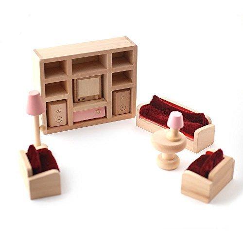 Holz Puppenhaus Möbel Set–Pink Wohnzimmer