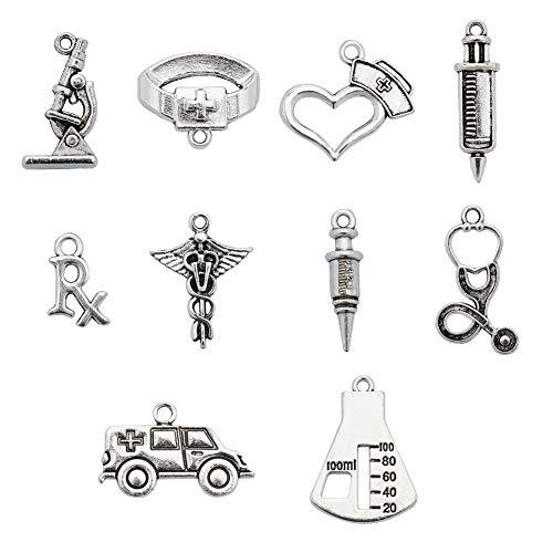 PandaHall 120 dijes de plata envejecida para enfermeras médicas con jeringa de estetoscopio, gorro de enfermera, sombreros para joyería, manualidades, accesorios para bricolaje, collar y pulsera