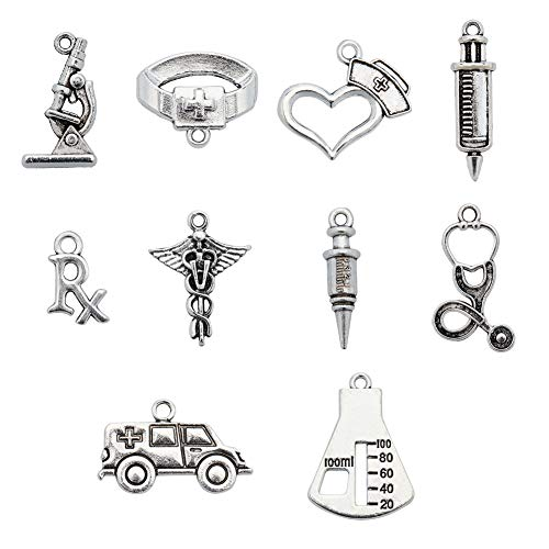 PH PandaHall 120pcs 10 Style Medical Nurse Charms Antique Silver Stethoscope Syringe Nurse Cap Hat Charms for DIY Necklace Bracelet Jewelry Making Crafting